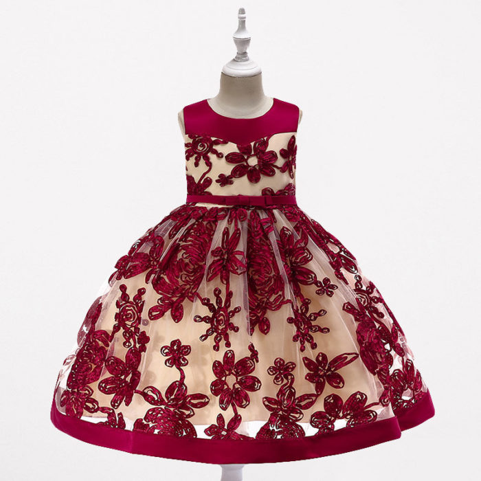 Flower Embroidery Girls Christmas Princess Dress For 3Y-13Y
