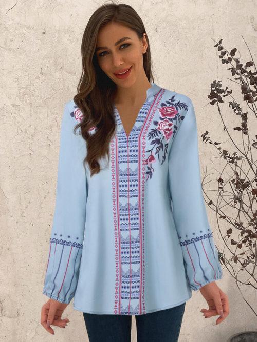 Flowers Ethnic Print V-neck Long Sleeve Plus Size Blouse