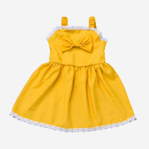 Girl's Yellow Bowknot Lace Sleeveless Casual Suspender Dress For 1-7Y