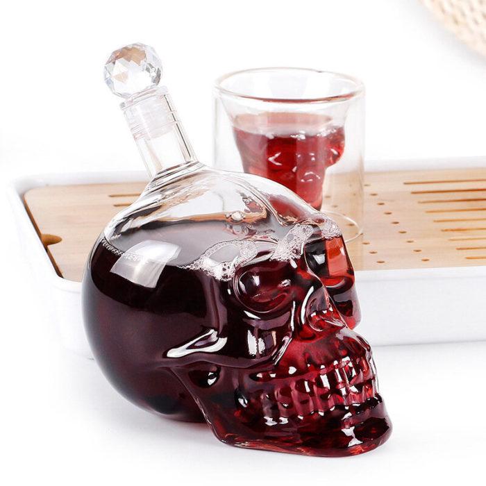 Glass Craft Wine Bottle Skull Holder Vodka Creative Wine Bottle
