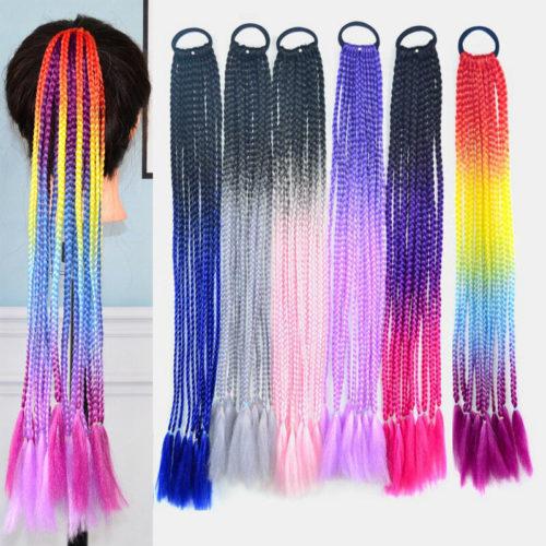 Halloween Colored Dirty Braids High Temperature Fiber Crochet Small Hair Braids Ponytail Hair Extensions