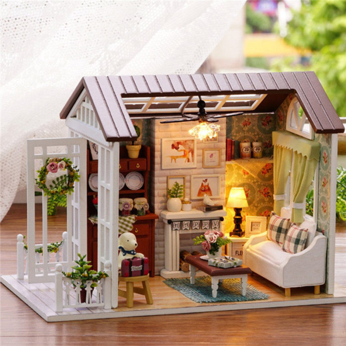 Happy Times Wood Dollhouse Miniature DIY House Handicraft Toy Idea Gift