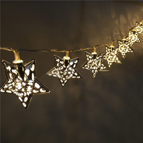 KCASA 3.3M 20 LED Metal Star String Lights LED Fairy Lights Festival Christmas Party Home Decor