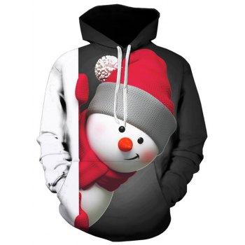 Kangaroo Pocket Snowman 3D Print Christmas Hoodie
