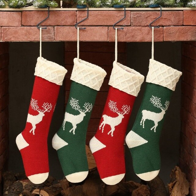 Knitted Christmas Socks Gift Bag Hanging Home Scene Arrangement Wool Elk Candy Bag