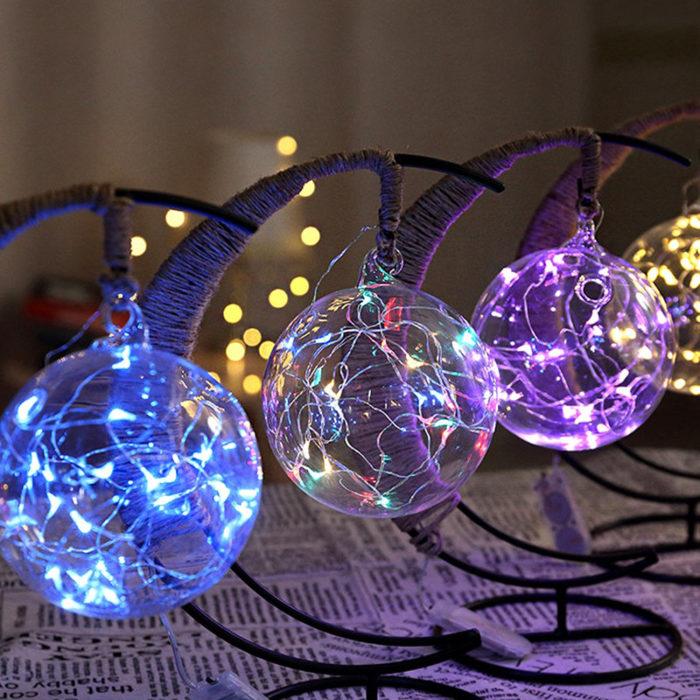 LED Night Light Handmade Rattan Ball Wrought Iron Frame Creative Home Light Decor
