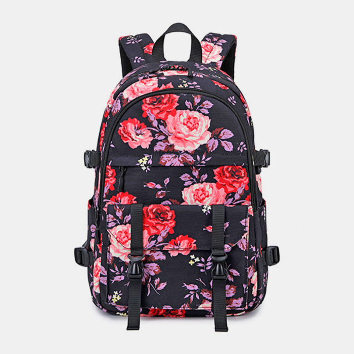 Laptop Backpack for Women Floral Hiking Backpack Nylon Travel Backpack with USB Charging Port Water-Resistant School Bac