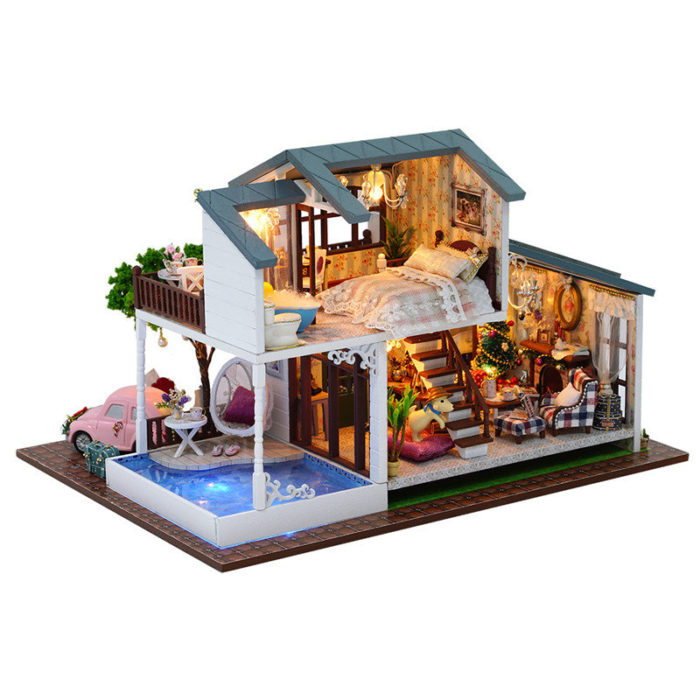 London Holiday Christmas Gift DIY Dollhouse With Cover Light Car Music House Model