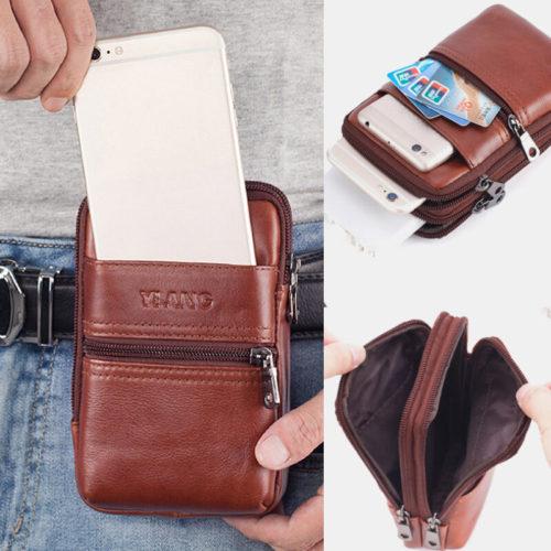 Men EDC Genuine Leather 6.3 Inch Belt Bag Phone Bag