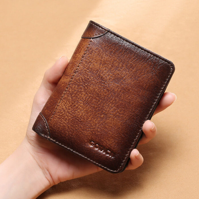 Men Genuine Leather RFID Anti-theft Retro Large Capacity Foldable Card Holder Wallet