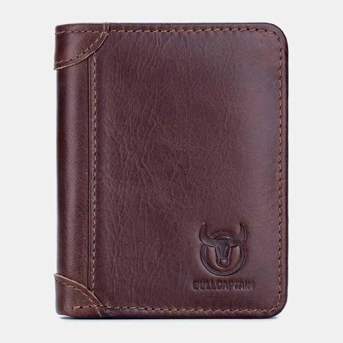 Men Genuine Leather Solid 9 Card Slots Wallet Purse
