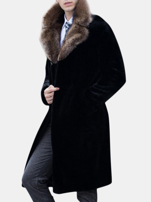 Men's Mid Long Fax Fur Collar Coat Winter Warm Slim Fit Wool Jacket Trench Coat