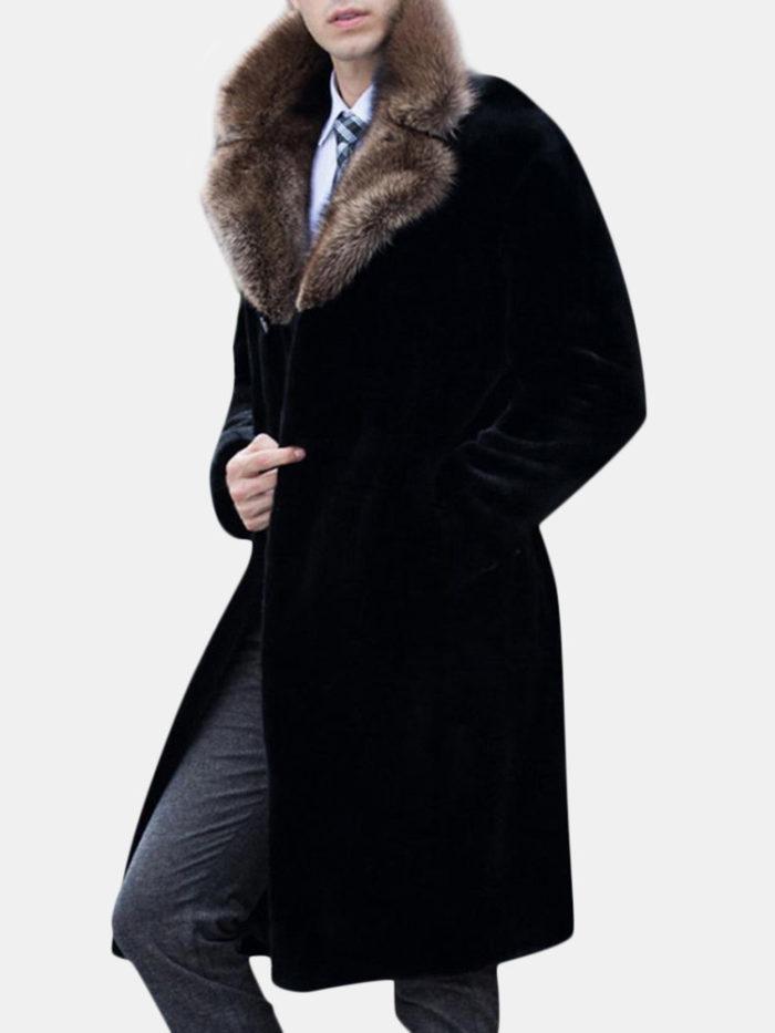Men's Mid Long Fax Fur Collar Coat Winter Warm Slim Fit Wool Jacket Trench Coat