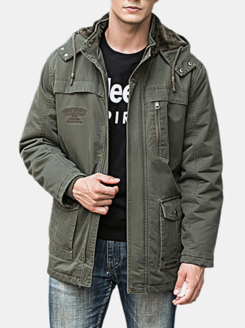 Mens Winter Thicken Warm Cotton Detachable Liner Mutil Pockets Hooded Parka