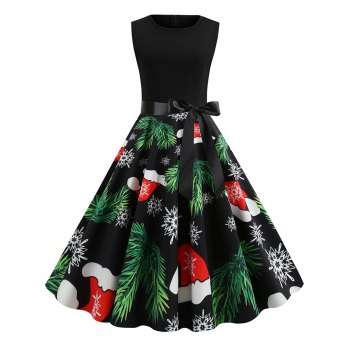 Sleeveless Christmas Tree Hat Snaowflake Print Dress