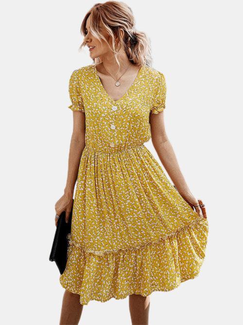 Stringy Selvedge Floral Print Short Sleeve Dress For Women