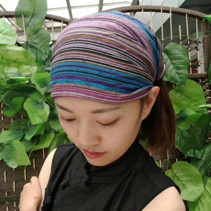 Striped Multicolor Beanie Hat Scarf Turban Head Wrap Cap