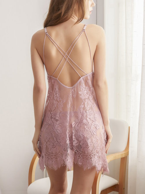 Women Criss-Cross Back Lace Mesh See Through Bowknot Babydolls Sexy Lingerie