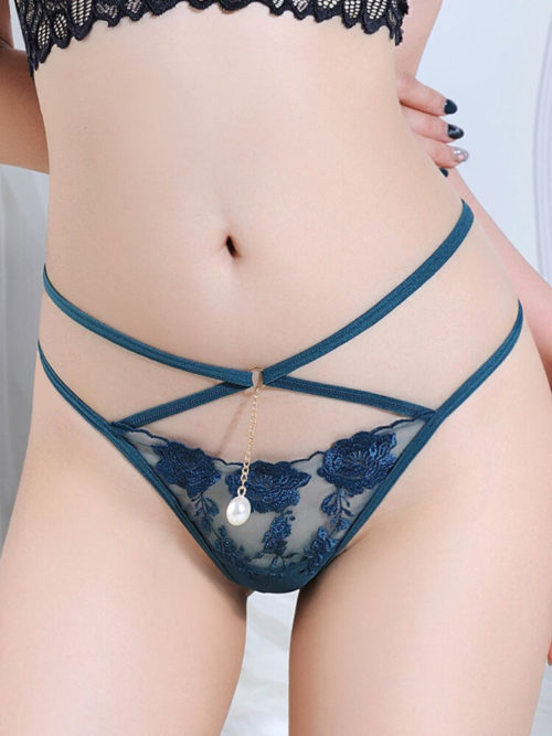 Women Criss-Cross Hollow Out Mesh See Through Sexy Lingerie Thong