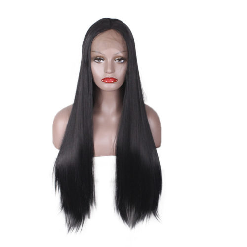Women Lace Front Black Long Straight Hair Extensions Fashion Synthetic Hair Wig