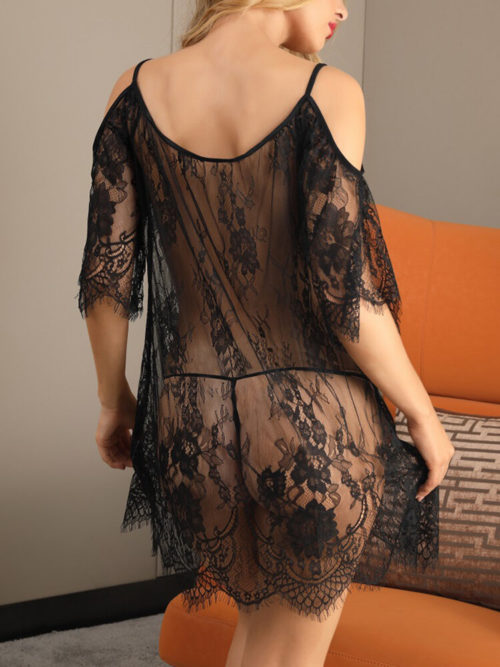 Women Lace Jacquard Mesh See Through Cutout Sleeve Babydolls Backless Sexy Lingerie