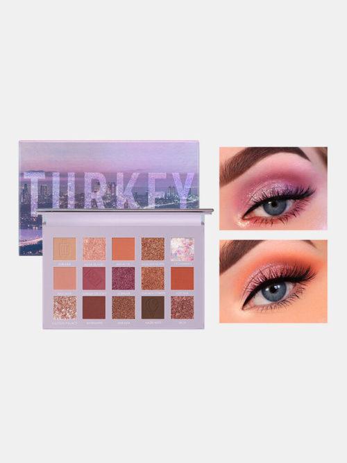 15 Colors Sequins Glitter Earth Color Eyeshadow Palette Pearlescent Waterproof Eye Makeup