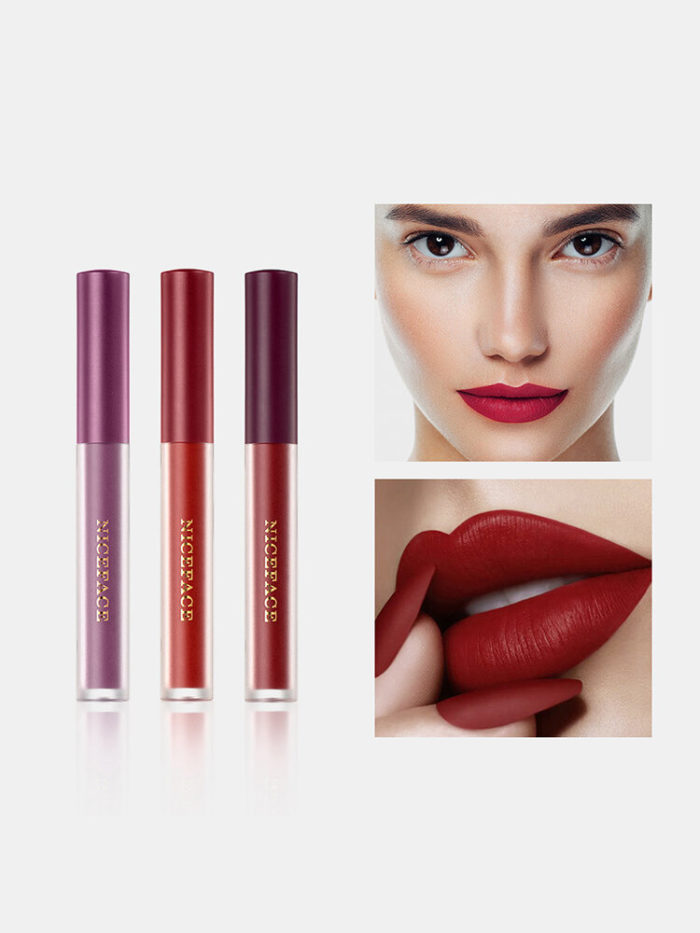 6 Pcs Matte Lip Glaze Set Velvet Non-Stick Cup Waterproof Lip Gloss Lip Makeup