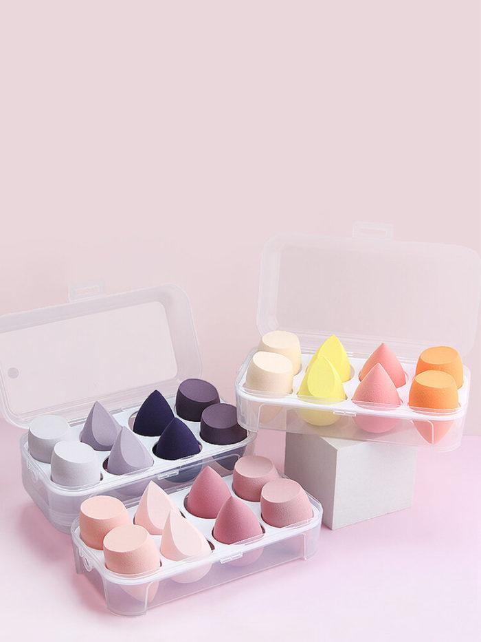 8 Pcs Beauty Eggs Set Wet-Dry Dual Purpose Loose Powder Blush Makeup Puff