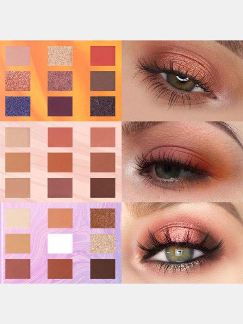 9 Colors Sunflower Matte Eyeshadow Palette Waterproof Nude Pigmented Shining Eye Makeup