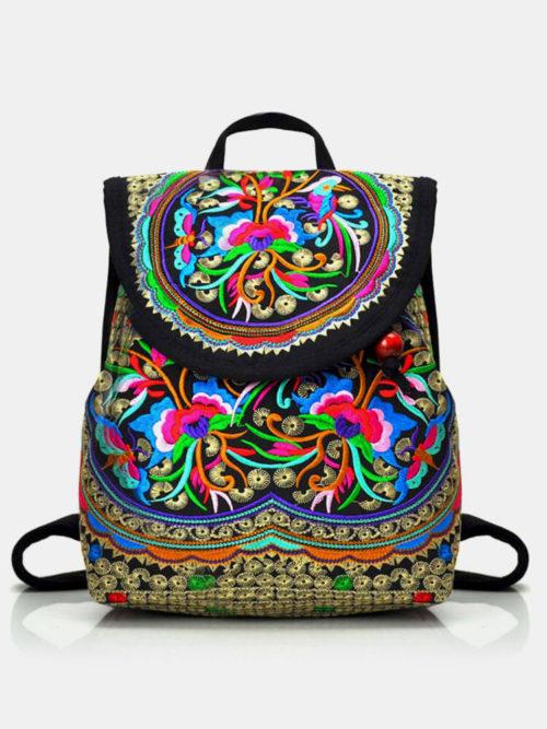 Vintage Embroidered Women Backpack Ethnic Travel Handbag Shoulder Bag