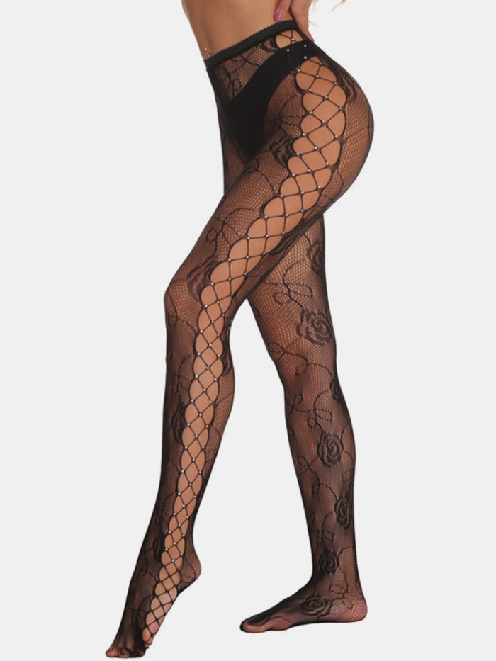 Women Fishnet Rhinestone Rose Jacquard See Through Stockings Sexy Lingerie