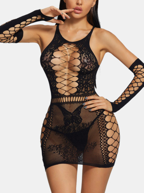 Women Hollow Out Lace Trims Halter Mid Sleeve Hip Sexy Mini Dress Lingerie