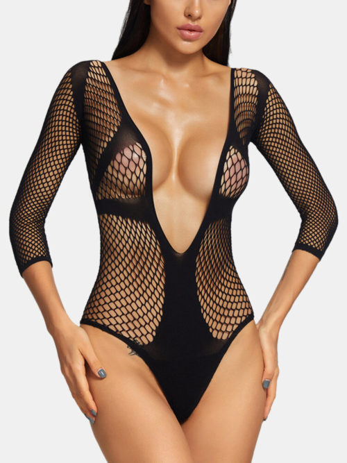 Women Plunge Fishnet See Through Backless Bodysuits Sexy Lingerie