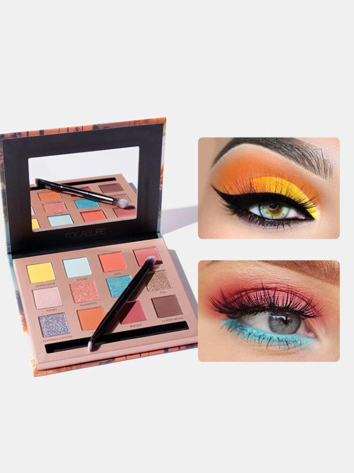 12 Colors Eyeshadow Palette Makeup Brush Glitter Matte Earth Color Long Lasting Waterproof Eye Makeup
