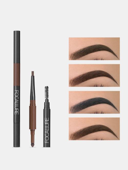 3 in 1 Auto Brows Pen Long Lasting Waterproof Sweat-Proof Beginners Makeup Eyebrow Pencil