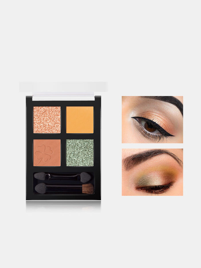 4 Colors Shiny Eyeshadow Palette Brushes Matte Nude Long Lasting Waterproof Daily Makeup