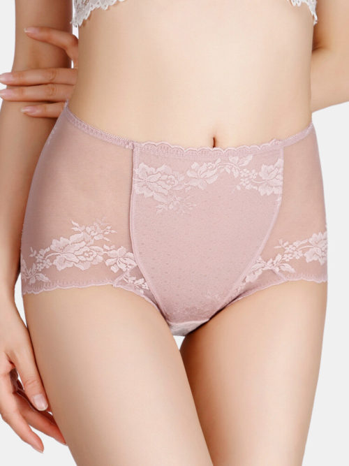 Plus Size Women Translucent Lace See Through High Waist Thin Lingerie Panties